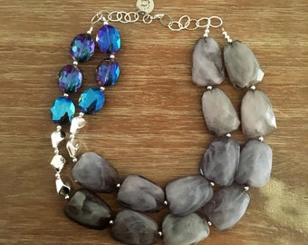 Grey Bead Necklace - Chunky Beaded Statement Necklace MultiStrand Blue