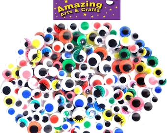200 Self Adhesive Wiggle Googly Wiggly Eyes assorted types and sizes 10mm 12mm 15mm