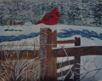 Cardinal on a Gate Post
