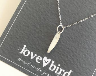 Silver Surfboard Necklace (surf necklace, surfing jewellery, beach jewellery )