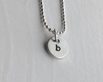 b Necklace, Sterling Silver Tiny Initial Necklace, Personalized Necklace, Hand Stamped Initial, Sterling Silver Jewelry