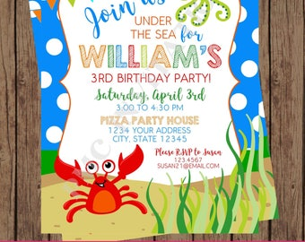 Custom Printed, Under the Sea Birthday Invitations, Ocean Invitation, Ocean Invitation, Under the Sea Party, Personalized