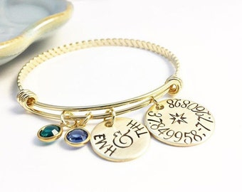 Coordinates ~ Long Distance ~ Wanderlust Bangle ~ Silver ~ Gold ~ Rose Gold ~ Latitude Longitude ~ Mother's Bracelet ~ Mom ~ Grandmother