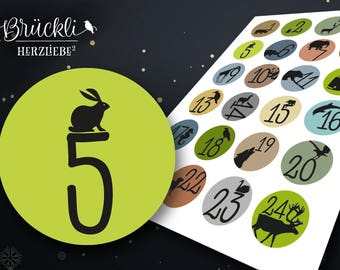 24 sticker advent calendar numbers / numbers advent calendar for children
