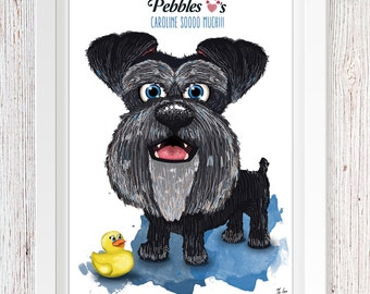 Cute Schnauzer Wartercolour Style Print