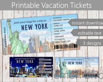Surprise New York Trip Ticket | Vacation Tickets Instant Download | Boarding Pass | Printable Trip Ticket Surprise | New York Ticket