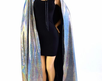 """50"""" or 60"""" Long Full Length REVERSIBLE Silver Holographic and Black Holographic Hooded Cape Cloak 154021"""