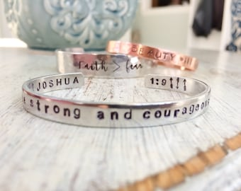 Armed with Truth - Scripture Reference - hand stamped silver cuff bracelet - Christian Jewelry
