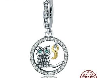 Owl & Moon Charm