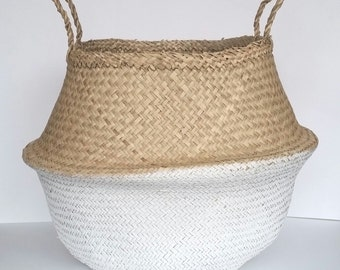 Large Seagrass Basket, Dipped White Handwoven Panier Boule Tote Storage