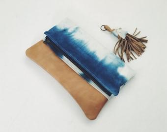 The Nicole - Shibori Indigo Fold Over Everyday Tan Leather Clutch