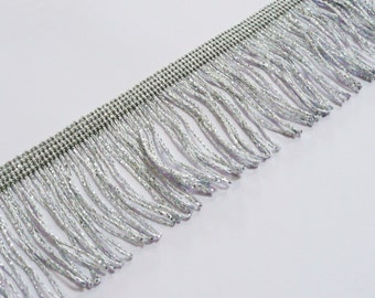 "Silver Lurex Metallic Looped Chainette Dress Fringe 50mm wide 2"" , craft, fashion, by the M UK SELLER"