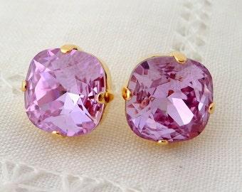 Purple lavender lilac violet Swarovski crystal stud earrings, stud earrings, Bridal earrings, Bridesmaids jewelry, Crystal stud earrings