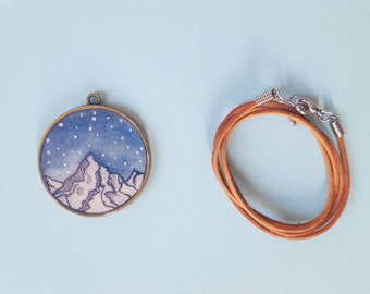 Necklace & Pendant Starry Mountains | original watercolor painting