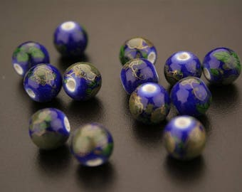 10 round porcelain printed beads. (ref:3112).