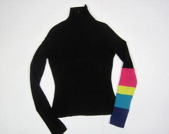 vintage MUGLER roll turtleneck // colour block //rainbow sleeve // Small