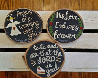 Wood Slice Sign, Taste and See that the Lord is Good, Psalm 34:8, Psalm 136, The Lord is my Shepherd, Angel, Scripture Wood Sign, Small Sign