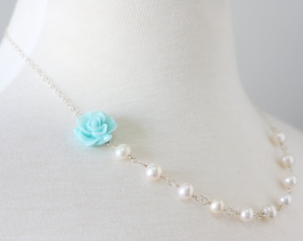 In the Garden Necklace - sterling silver with freshwater pearls