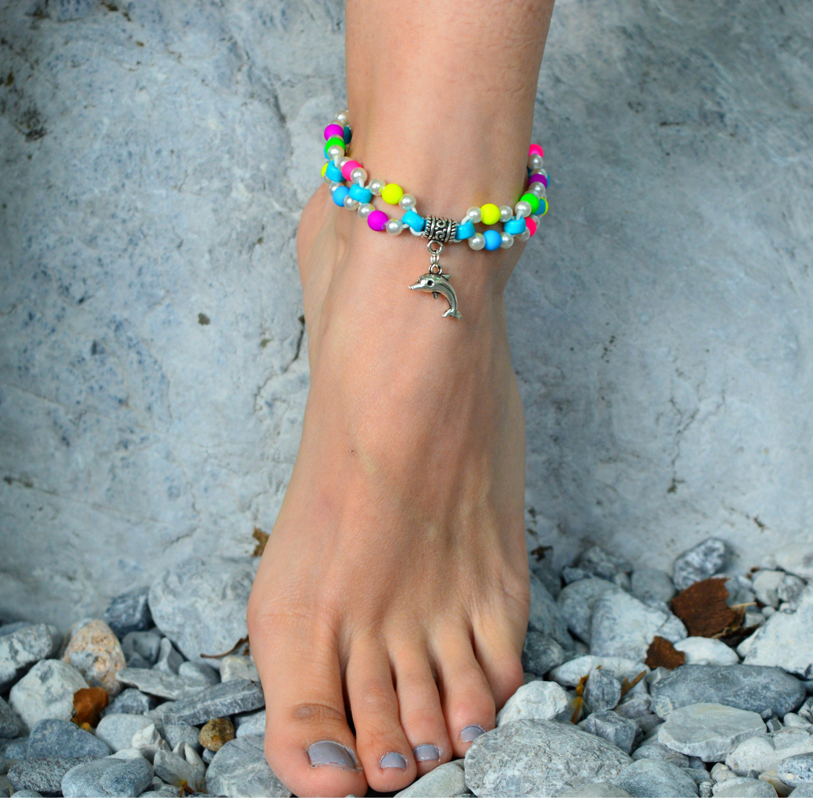 anklet ginger beaded crafts listing beach jewelry gem il fullxfull bracelets llc ankle chakra