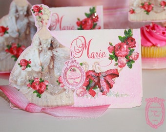 La Belle Marie Antoinette Roses Glittered Placecards with Die-Cut Marie Set of Six