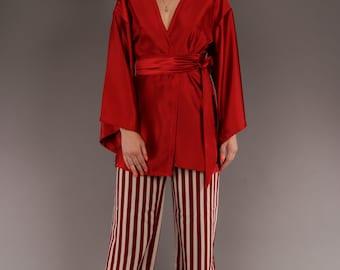 Red Velvet Wrap Kimono