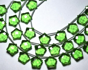 10 Pieces, Peridot Lite Green Quartz Side Drilled Faceted Carwing Star, Size 14MM