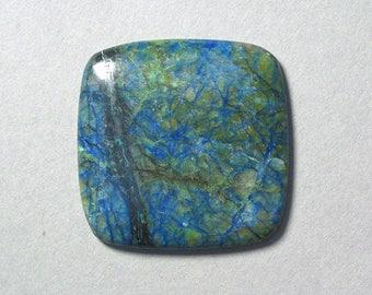 blue green AZURITE square cabochon 40X40mm designer cab