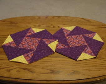 Set of 2 Octagon Quilted Table Topper, Candle Mat, Mug Rug