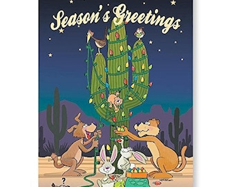 Desert Critters Decorate a Cactus Christmas Card