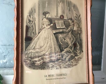 Vintage a Framed French Fashion Print