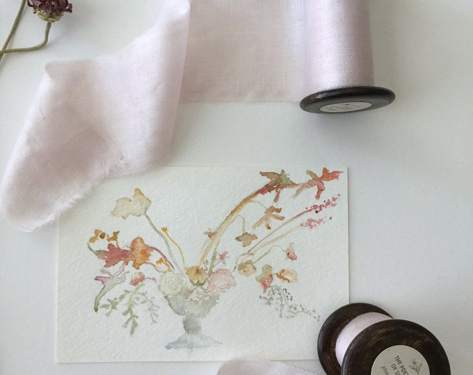 PALE PINK Plant Dyed Silk Ribbon