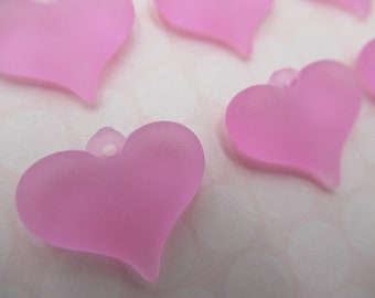 Pink Heart Charms Pendants - Matte Rose Earring Findings - 18mm X 15mm Puff Hearts with Loop - Made in Germany - Qty 6 *NEW ITEM*