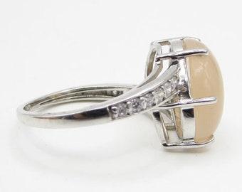 925 sterling silver - peach aventurine & sapphire solitaire sz 5.5 ring - r1184