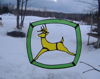 farm deer, stained glass suncatcher