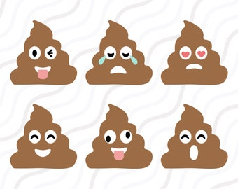Poop Emoji SVG, Poop Clipart, Emoji SVG, Poop SVG Cut table Design,svg,dxf,png Use With Silhouette Studio & Cricut_Instant Download