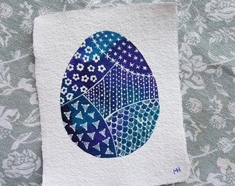 Jewel-tone Easter Egg - Small Original Watercolour Painting