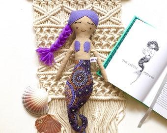 Purple Indigenous Mermaid Doll// Handmade Doll// Fabric Doll// Cloth Doll// Rag Doll// Mini Mermaid Doll// Mermaid Toy// Keepsake Doll