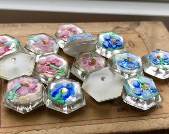 Vintage Paperweight Cabochons, Lampwork Cabochons, Paperweight buttons, Czech Glass Cabochons, Czech Buttons, Flower Cabochons, Floral #Box