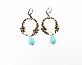 Cream and Turquoise Tear Drop Earrings