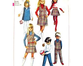 Girls Jumper Top Skirt Pants Pattern Simplicity 7785 Sleeveless Dress Mini Skirt Trousers Girls Size 6 Vintage Sewing Pattern