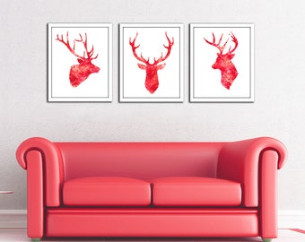 Red deer art Instant Download, red stag set digital art,deer head watercolor print, wall art, head silhouette, red deer head painting,poster