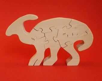 wooden dinosaur: parasaurolophus (7 pieces)