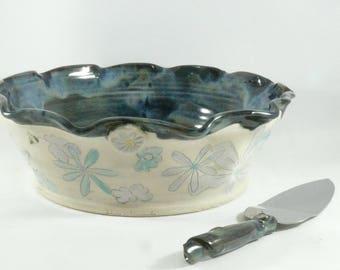 Deep Dish Pie Baking Pan, Pottery Bakeware, Ceramic Pie Dish, Pie Serving Plate, Quiche Baker, Decorative Kitchen Bakeware, Wedding Gift