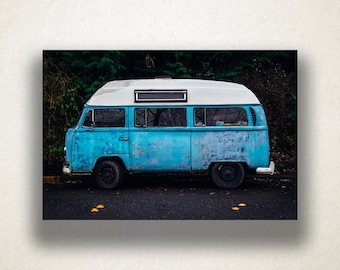 1970's Classic VW Bus Canvas Art, 1970's Bus Wall Art, Old Vehicle Canvas Print, Artwork, Photograph, Canvas Print, Home Art, Wall Art
