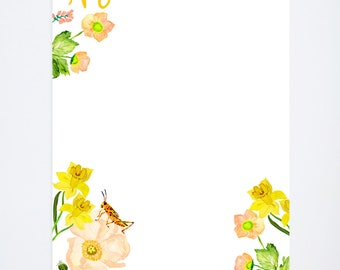 Floral Notepad - To Do List - Watercolor Painted Flowers - Office Accessories - 5.5' x 8.5'