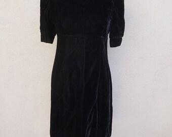 1980s Lanz Dress, 80s Black Dress, Black Velvet Dress, Short Black Dress, Black Party Dress, Shoulder Pads, Short Sleeve Dress