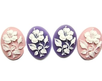 2pcs Hibiscus Acrylic Cameo 40 x 30 mm Purple Soft Pink Resin Cameo Oval Cameo Flat back Jewelry making Supplies