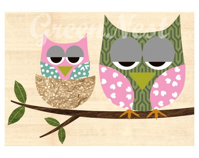 Cute Mother and Baby Owl collage poster print with wooden background