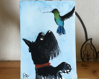 Original ACEO Scottie Dog and Hummingbird miniture watercolour with mini easel
