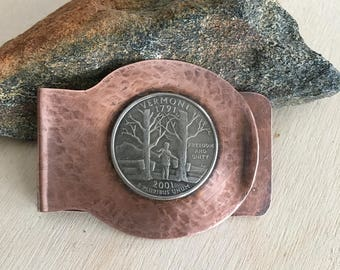 Men's money clips - Commemorative quarters - Coin money clip - Vermont 2001 - Handmade copper